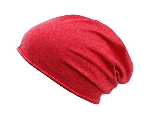 2Store24 Damen und Herren Jersey Long Beanie in Carmine red melange aus Bio Baumwolle
