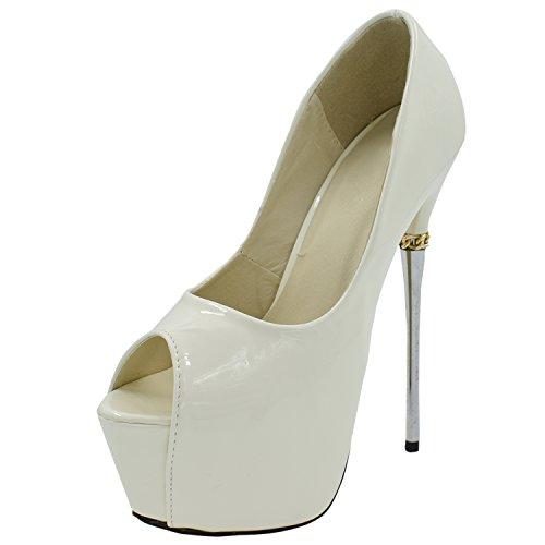 Oasap Femme Chaussure Escarpin Sexy A Talons Hauts Talons Aiguilles A Enfiler Bout Ouvert Blanc