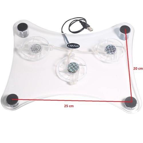 Laptop Kühler Lüfter mit 3 Ventilatoren LED Notebook Cooler USB für 10 - 17 Zoll
