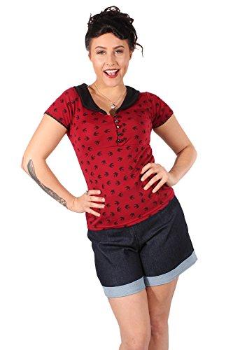 retro Schwalben Rockabilly V-Ausschnitt Swallow T-Shirt weinrot