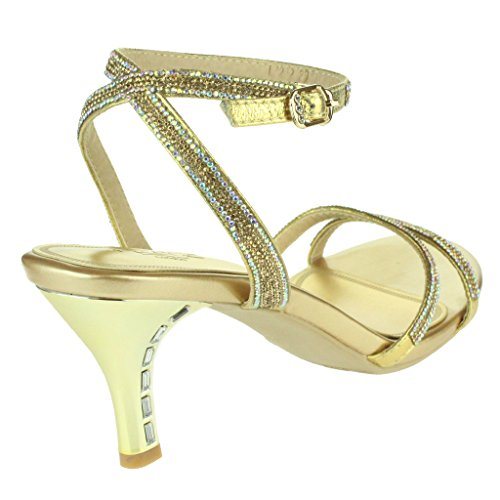Femmes Dames Riches Cristal orné Soir Fête Mariage Prom De mariée Diamante Brillant Talon haut Sandales Chaussures Taille Or