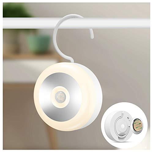 DENG-F Nachtlicht Bewegungsmelder, Auto ON/Off, Wiederaufladbare kabellose LED Lampe mit integriertem Haken und Magnetsatz Schrankbeleuchtung für Kinderzimmer, Schlafzimmer, Küche -