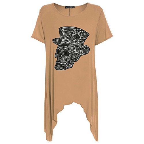 Womens Ladies Skull Hat Studded Flared Swing Hanky Hem Long Top Dress Plus Size