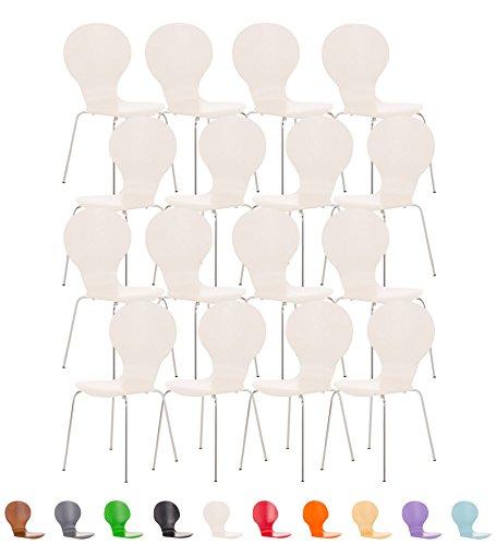 CLP 16er Set Stapelstuhl DIEGO V2 mit Holz-Sitz, stapelbarer Besucherstuhl mit ergonomisch geformten Sitz, robust und pflegeleicht, Konferenzstuhl in verschiedenen Farben Weiß