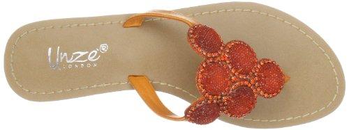 Unze Evening Slippers, Sandali infradito donna Arancione (Orange (L18828W))