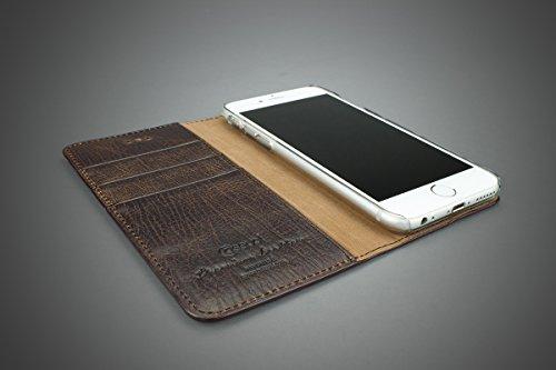 CASEual LEWALIP7-ITAL-BRO Italian Leder Wallet Schutzhülle für Apple iPhone 7 braun Vintage Mamut