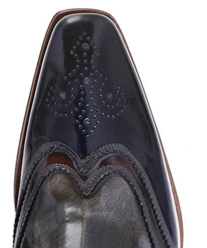 Jeffery-West Hommes Bottes de cuir Zip Scarface Bleu Foncé Bleu Foncé