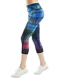 COOLOMG Damen Sport Leggings 3/4 Yoga Hose Jogginghose Workout Fitness Caprihose Printed S-XL
