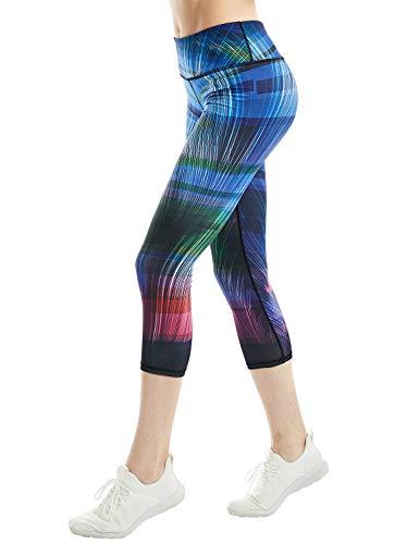 COOLOMG Damen Sport Leggings 3/4 Yoga Hose Jogginghose Workout Fitness Caprihose Printed S-XL (X-Large, CL-Kurve (capri))
