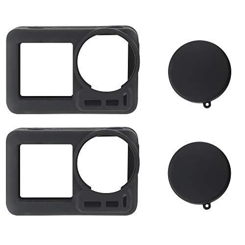 VVHOOY Weiche Silikon-Gel-Schutzhülle und Objektivdeckel, kompatibel mit DJI OSMO Action Cam Digitalkamera-Zubehör, Schwarz, 2 Stück
