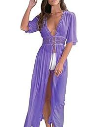 Ba Zha Hei Vestido de Blusa de Bikini de Mujer Vestido Elegante Casual Playa Dress Cuello Manga Corta Escote Fiesta Cóctel Falda Larga…