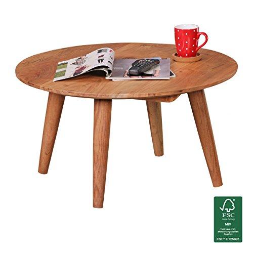FineBuy Couchtisch Massivholz Akazie | Wohnzimmertisch rund Ø75 x 40 cm | Beistelltisch mit 4 Beinen aus Naturholz Landhaus-Stil | Wohnzimmer-Möbel aus massivem Echtholz | Design Kaffeetisch modern