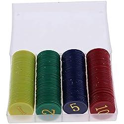 P Prettyia 160pcs Jetons de Poker en Plastique Set Coffret de Poker pour Jeu de Société de Loto