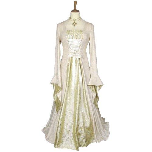 Kostüm Burgfräulein Creme/Weiß Gr. 36/38 Königin Prinzessin Mittelalter Maid (Weiße Königin Kostüm)