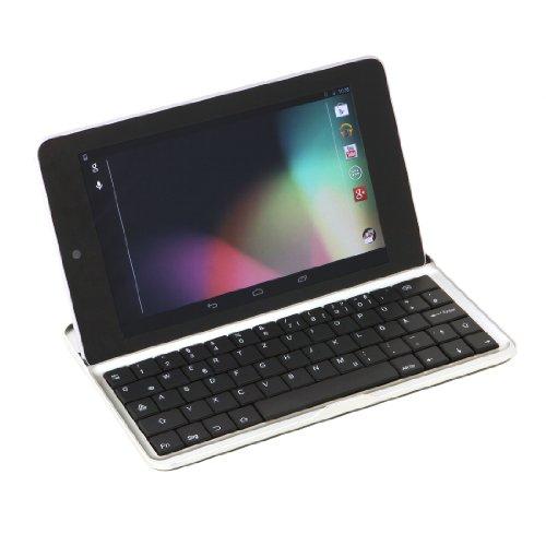 """Preisvergleich Produktbild GeX® kabellose Bluetooth QWERTZ-Tastatur für Google Nexus 7 I (nur für die erste Generation von Google Nexus!!) mit deutschem Tastaturlayout mit üblicher Tastenkombination für Umlaute,  Ä,  Ö,  Ü,  ß,  @ bei """"Q"""" und mit deutscher Bedienungsanleitung"""