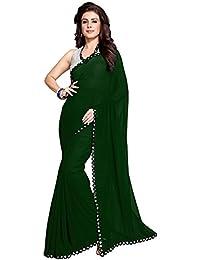 Nena Fashion Saree With Blouse Piece Lace Work Georgette Mirror Border With Blouse Piece Saree (GREEN)