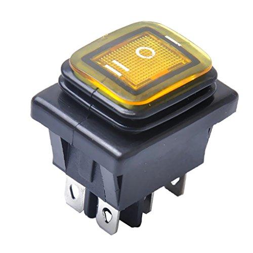 MagiDeal 1 Stück Wasserdicht 12V 6 Pin On-Off-On Auto Boot Beleuchtete Rocker Kippschalter Schalter - Gelb
