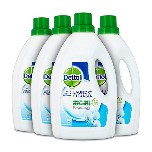 48812fefd7b5 Dettol Antibacterial Laundry Detergent Cleanser Liquid, Fresh Cotton,  Multipack of 4 x 1.5 Litre