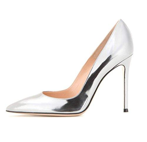 EDEFS - Escarpins Vernis Femme - Chaussures à Talons Hauts Aiguille - Bout Pointu PU Cuir - Fete Soiree Grande Taille Argent