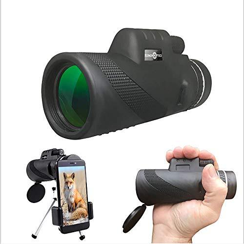PQ&D Teleskop, 10X40 HD Hochleistungs-Prisma-Monokular und schnelles Smartphone-Adapter-Stativ für das Jagen und das Wandern von Camping,40 * 60 -