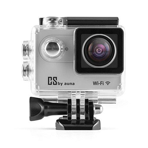 Auna ProExtrem Plus Action-Cam WiFi a risoluzione camera 4K ed involucro subacqueo impermeabile (supporto quick-clip, Display LCD, SD, fotocamera 12 megapixel, 120 fps, HDMI) silver