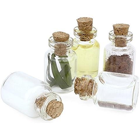 Grenhaven - Set de 20 botellas pequeñas - Para decoración, almacenamiento y manualidades - Botellita de vidrio y tapón de corcho - 1,5 ml