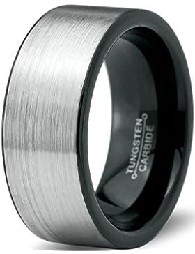 Tungsten Wedding Band Ring 9mm for Men Women Comfort Fit Black Enamel Two Tone Pipe Cut Brushed Lifetime Guarantee