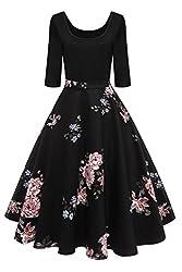 MisShow Damen Elegant Audrey Hepburn Kleid Langarm A-Linie mit Blumendruck U-Ausschnitt Partykleider Cocktailkleid Printkleid Knielang Gr.S-2XL, Schwarz 2, M