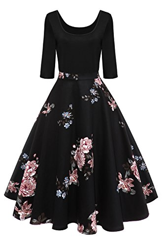 MisShow Damen Elegant Audrey Hepburn Kleid Langarm A-Linie mit Blumendruck U-Ausschnitt Partykleider Cocktailkleid Printkleid Knielang Gr.S-2XL, Schwarz 2, S