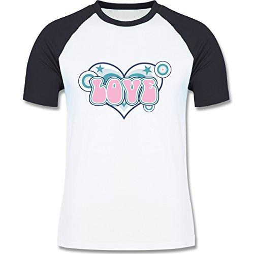 Romantisch - Love - zweifarbiges Baseballshirt für Männer Weiß/Navy Blau