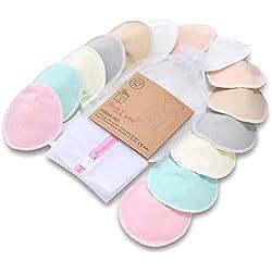 Bambou bio - 14 coussinets lavables + sac de lavage - Tétine d'allaitement pour mamelons de maternité - Reutilisables pour l'allaitement - Fournitures d'allaitement (toucher pastel)