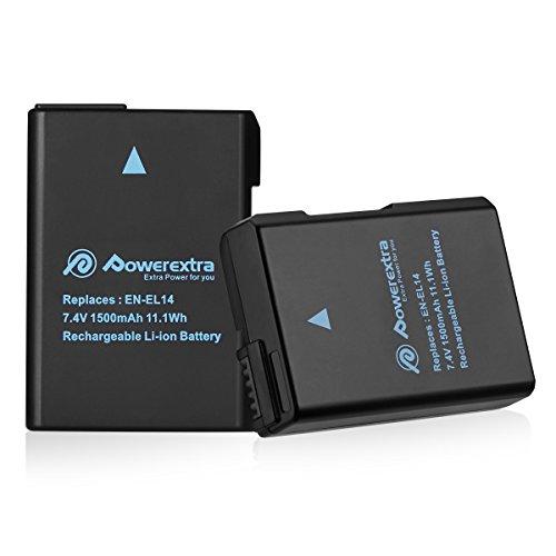 Powerextra Batería Nikon EN-EL14 EN EL14a para Nikon D3100 D3200 D3300 D5100 D5200 D5300 D5500 Coolpix P7000 P7100 P7700 P7800 EN EL14a DSLR Cámara