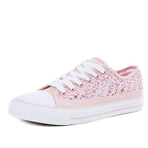 Marimo Trendige Unisex Damen Schnür Sneaker Low Top Schuhe mit Spitze Pink 38