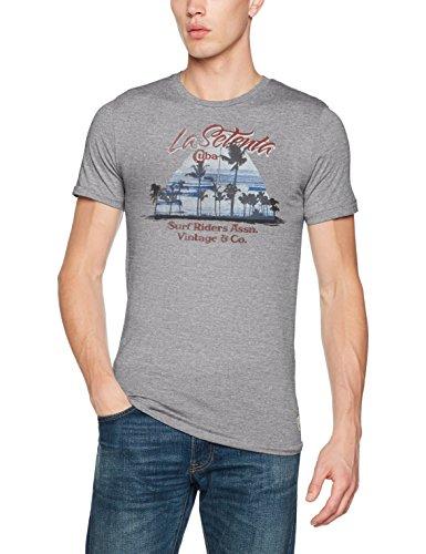 JACK & JONES VINTAGE Herren T-Shirt Jjvrecycle Oslow Tee Ss Crew Neck Grau (Light Grey Melange Fit:Melange - Slim Fit)