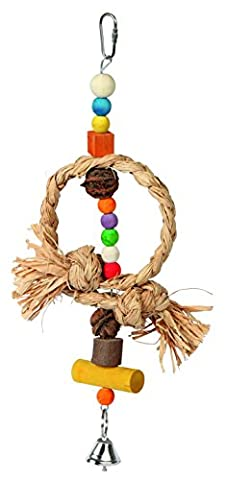 Kerbl Raffia/ Walnut/ Pine Bird Toy Nature with Bell, 36 cm