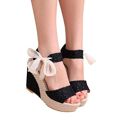Beauty-luo sandali sonna con tacco sandali open toe sexy con zeppa in pizzo da donna, scarpe col tacco alto da donna, sandali donna eleganti (35, nero)