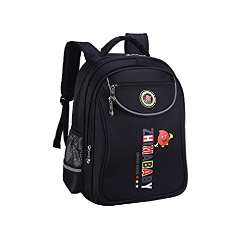 ZHIMABABY Kids Backpacks School Book Bags for Boys Fluorescence Thick Fabrics Children's Backpacks -Black(12.2*7.1*16.1
