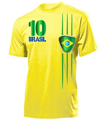 Brasilien Fanshirt Streifen 3212 Fussball Herren T-Shirt (H-G) Gr M