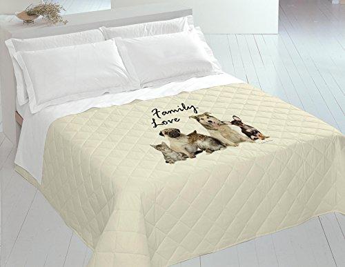 Italian Bed Linen 8058575009302 Couette Été Imprimée en Numérique Family Love Multicolore 100% Coton pour Lit 2 Places 260 x 270 x 1 cm