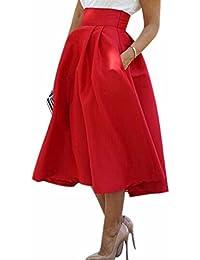 Rojo De Moda De La Alta Cintura Mujeres Plisadas Faldas De Tul Nuevo Medio Corto Verano Ol