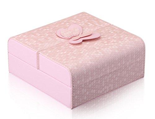 HWF étui cosmétique Boîte à bijoux Boîte de rangement Boîtier cosmétique Cuir Organisateur ( Couleur : Rose )