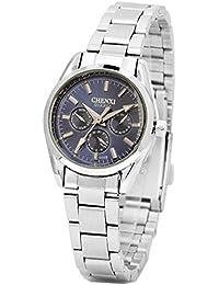 ufengke® inoxidable de plata de línea de acero punteros reloj de pulsera muñeca a prueba de agua para las mujeres-azules,pequeños diales decorativos
