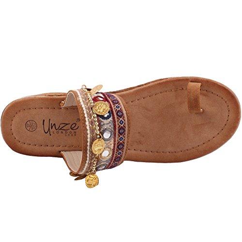 """Unze Le donne """"Siena"""" piattaforma ricamato Quotidiano Festival di indossare scarpe di tela o di sparto UK dimensioni 3-8 Marrone"""