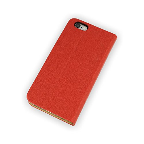 QIOTTI >              Apple iPhone 6 und iPhone 6S (4,7&quot;)              < incl. PANZERGLAS H9 HD+ Booklet Wallet Case Hülle Premium Tasche aus echtem Kalbsleder mit KARTENFÄCHER und STANDFUNKTION. CARRIER SLIM KOLLEKTION in DEN ROT