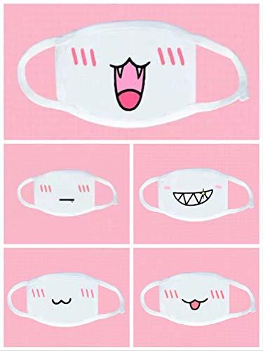 thematys 5er Set Mundmaske wiederverwendbar - Mundschutz Maske aus Baumwolle mit 5 witzigen Motiven für Verschiedene Anlässe
