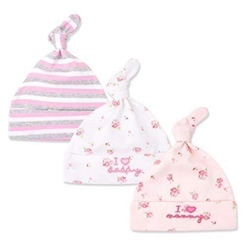 CuteOn 3 Pack Baby Beanie Knoten Hut Neugeboren Jungen Mädchen Baumwolle Einstellbar Kappe zum Baby 0-6 Monate 03-IloveDaddy&Mommy