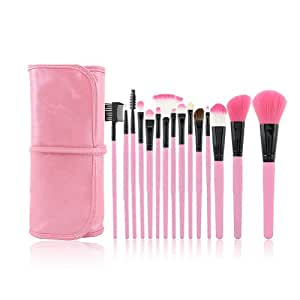 Lot de 15 Pinceaux de Maquillage Cosmétique Fard Ombre Levre + Trousse en Rose Professionnelle pour Femme
