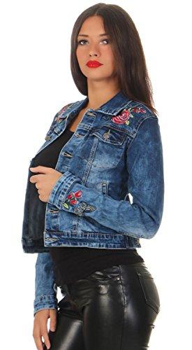 11289 Fashion4Young Damen Jeansjacke Damenjacke Jeans Jacke Kurze Jacke BOHO Stickerei Blau