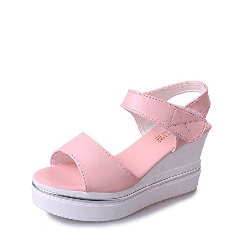 Dames coréenne casual polyvalent sandales en été/Peep-toe Velcro haute coins sandales B
