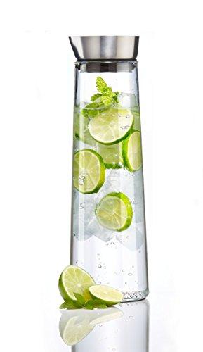 Hochwertige 1L Glaskaraffe von LeoFlix - Handgefertigte Glaskanne Glasflasche aus edlem Borosilikatglas für Heißgetränke Kaltgetränke Obst Orange Zitrone